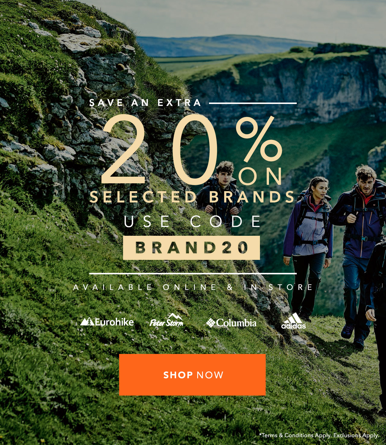 An extra 20 % Off Selected Brands - Use Code Brand20