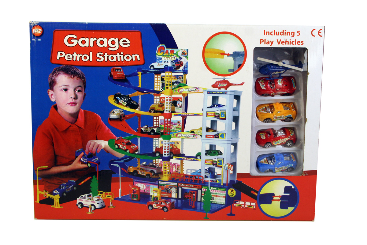 A-Z Garage Petrol Station Play Set with 5 Vehicles