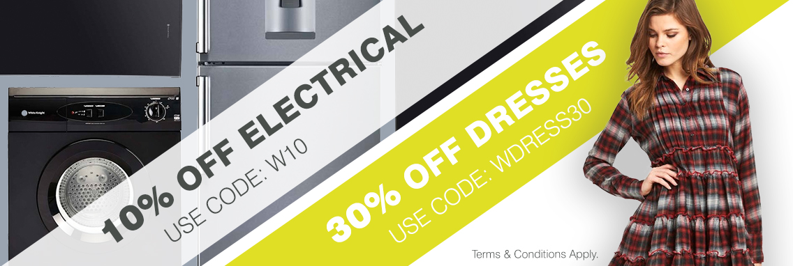 30% off dresses and 10% off electrical
