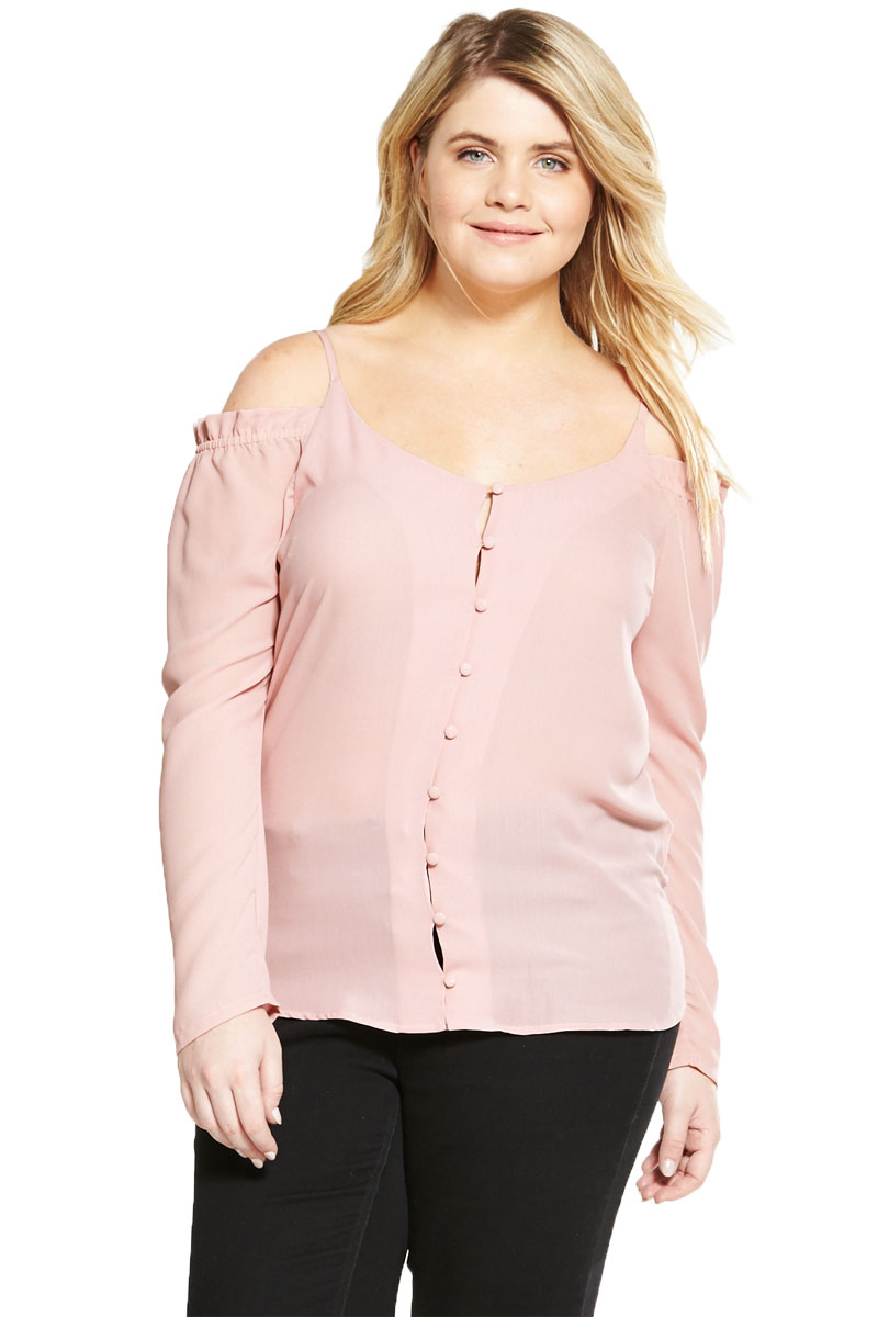 Alice You Cold Shoulder Button Up Blouse