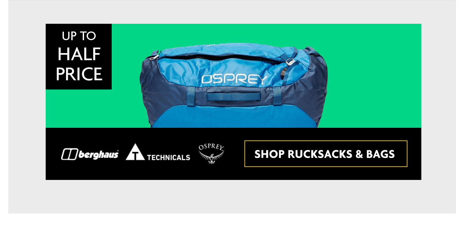 RUCKSACKS AND BAGS UP TO 50% OFF