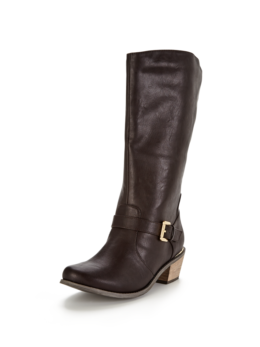 V by Very Clifton Western Detail Gold Trim Calf Boots