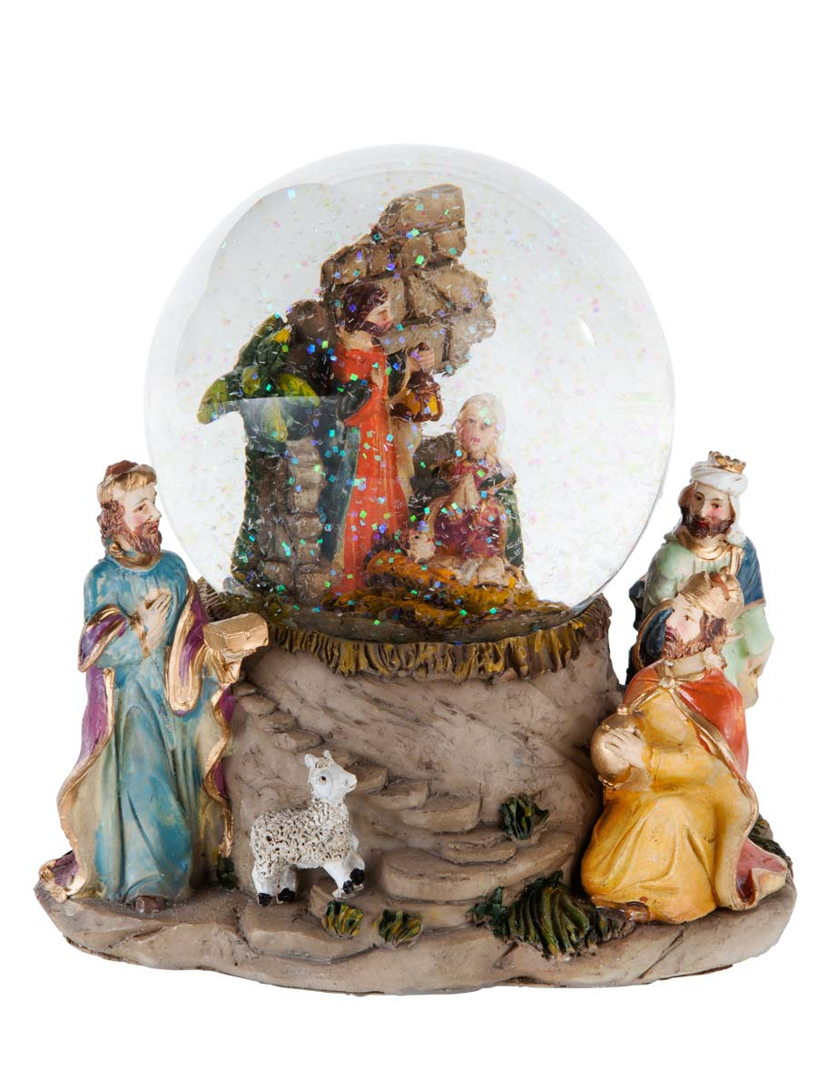 Gisela Graham Nativity Music Dome With Three Kings Ornament